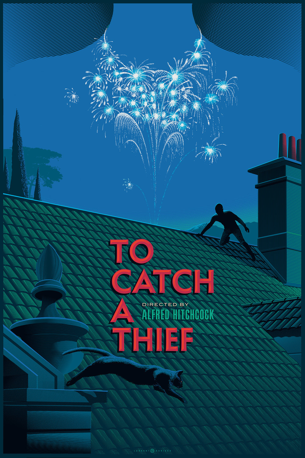 To Catch a Thief (1955, dir. Alfred Hitchcock) poster by Laurent Durieux, 2016