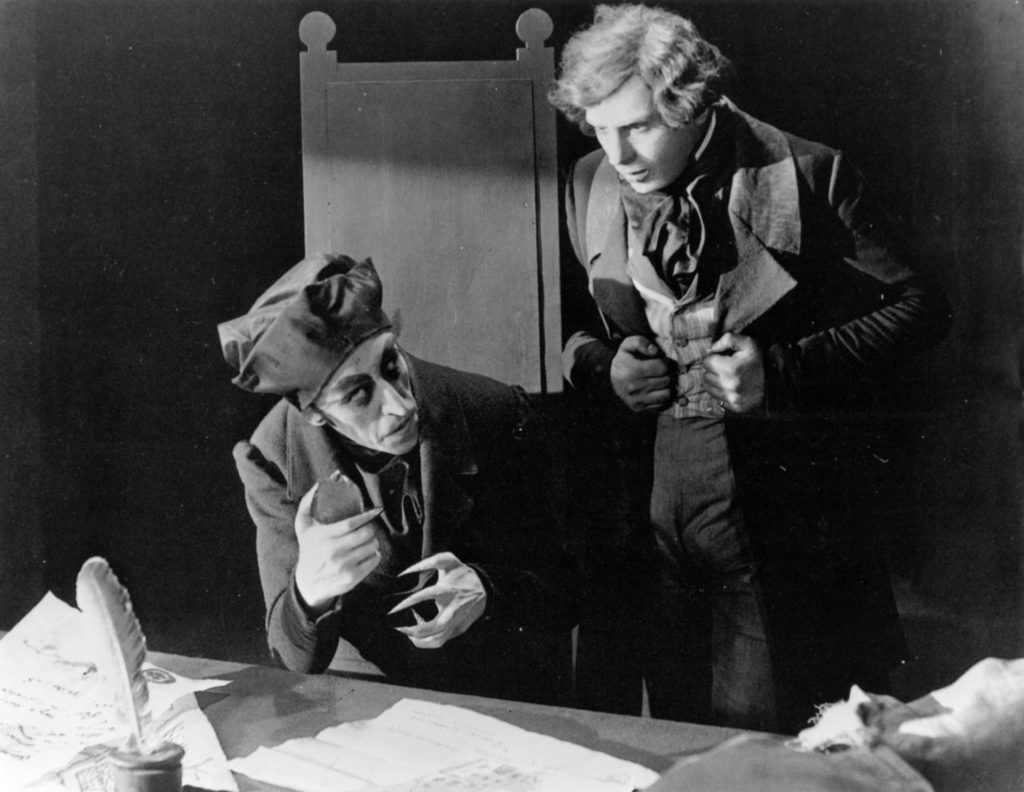 """Your wife has a beautiful neck..."" Orlok is filled with unholy lust for Hutter's spouse. Max Schreck (L) and Gustav von Wangenheim in Nosferatu (1922)."