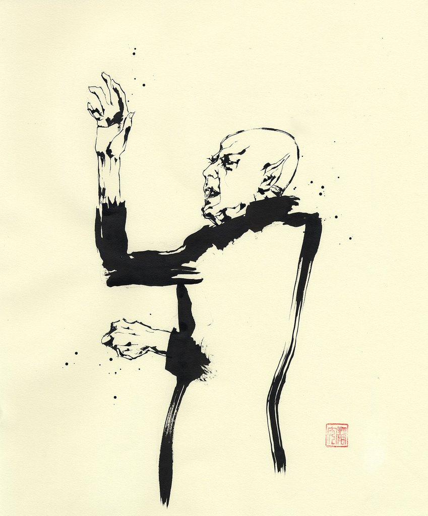 Count Orlok conducts?Sumi-e ink painting by David W. Mack, 2016