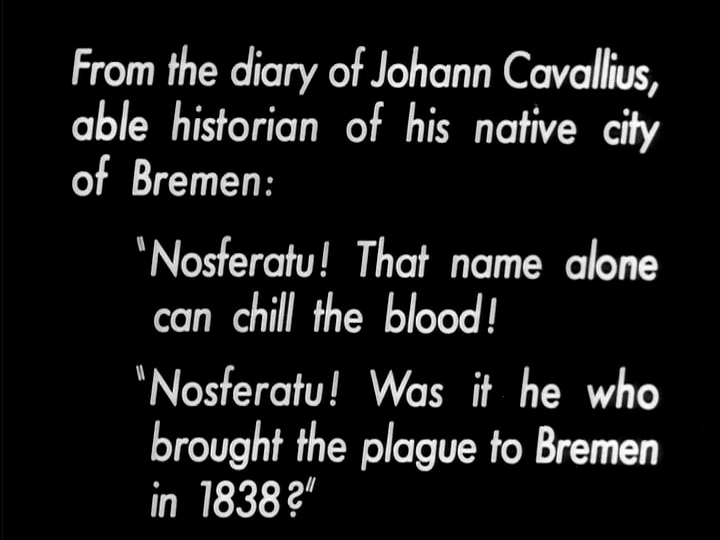 Nosferatu (1922), 1947 MoMA print English opening intertitle, public domain version