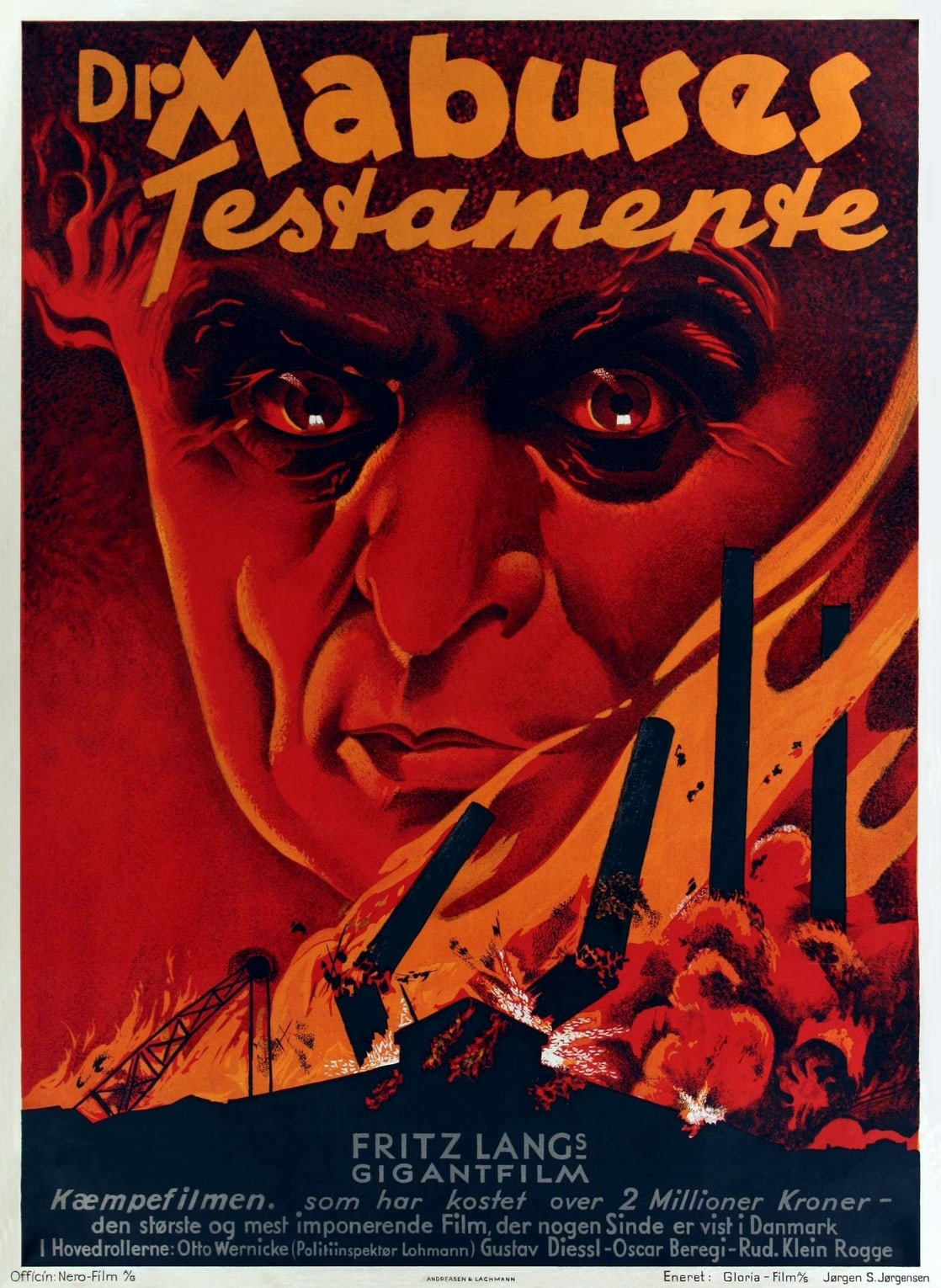 The Testament of Dr. Mabuse aka Dr. Mabuses testamente (1933) Danish poster