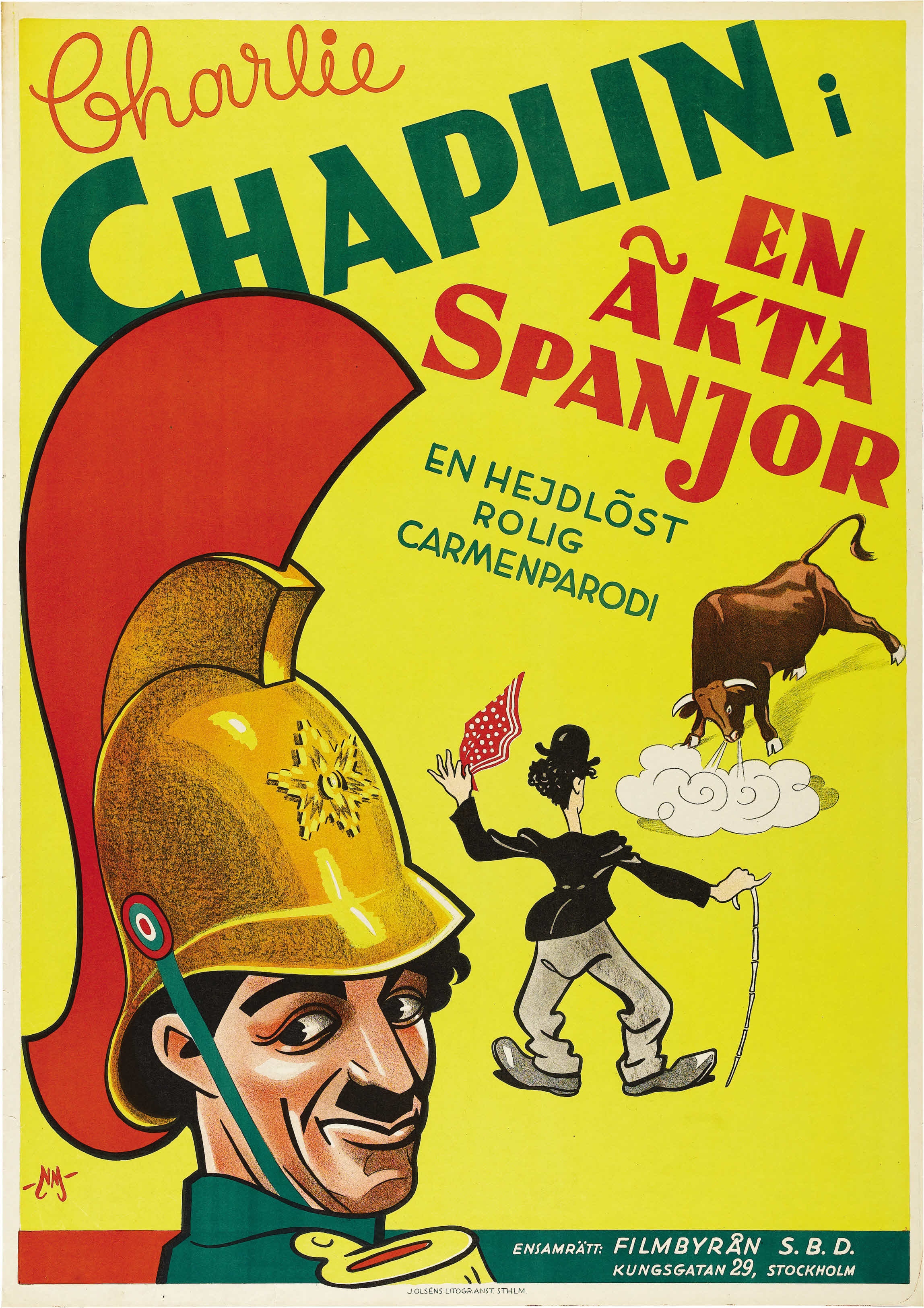 A Burlesque on Carmen aka En äkta spanjor (A spanish guard, 1915) Swedish 1933 sound reissue poster