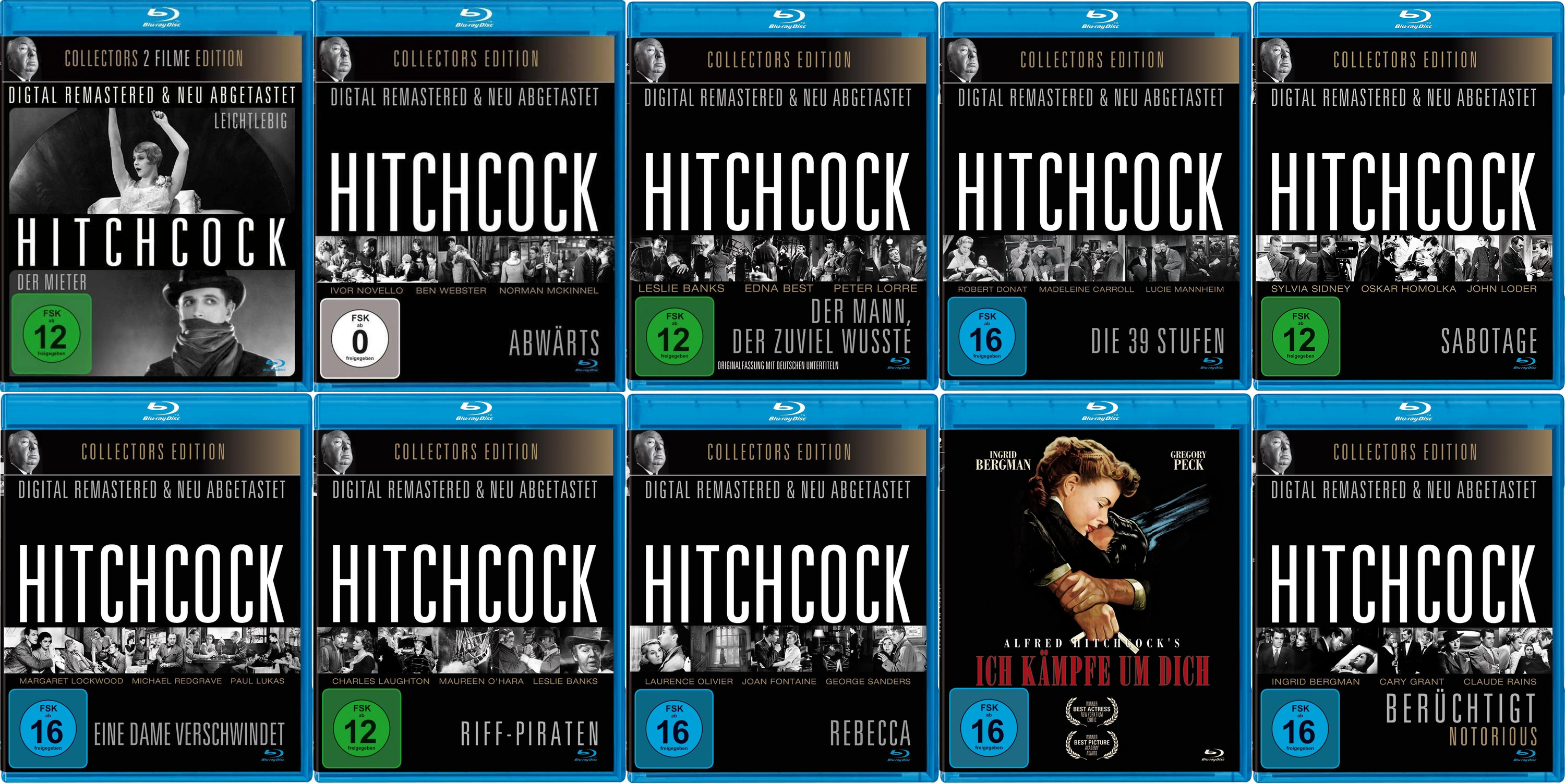 Alfred Hitchcock 1926-1946 German bootleg Blu-rays all from the same company, Great Movies/Indigo/WME Home-Entertainment – they can't make their minds up either.
