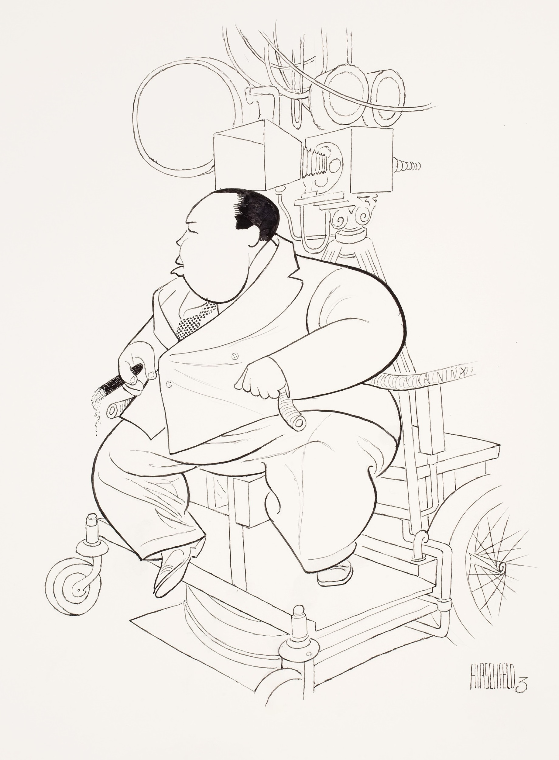 Alfred Hitchcock on the set of Sabotage (1936) caricature by Al Hirschfeld