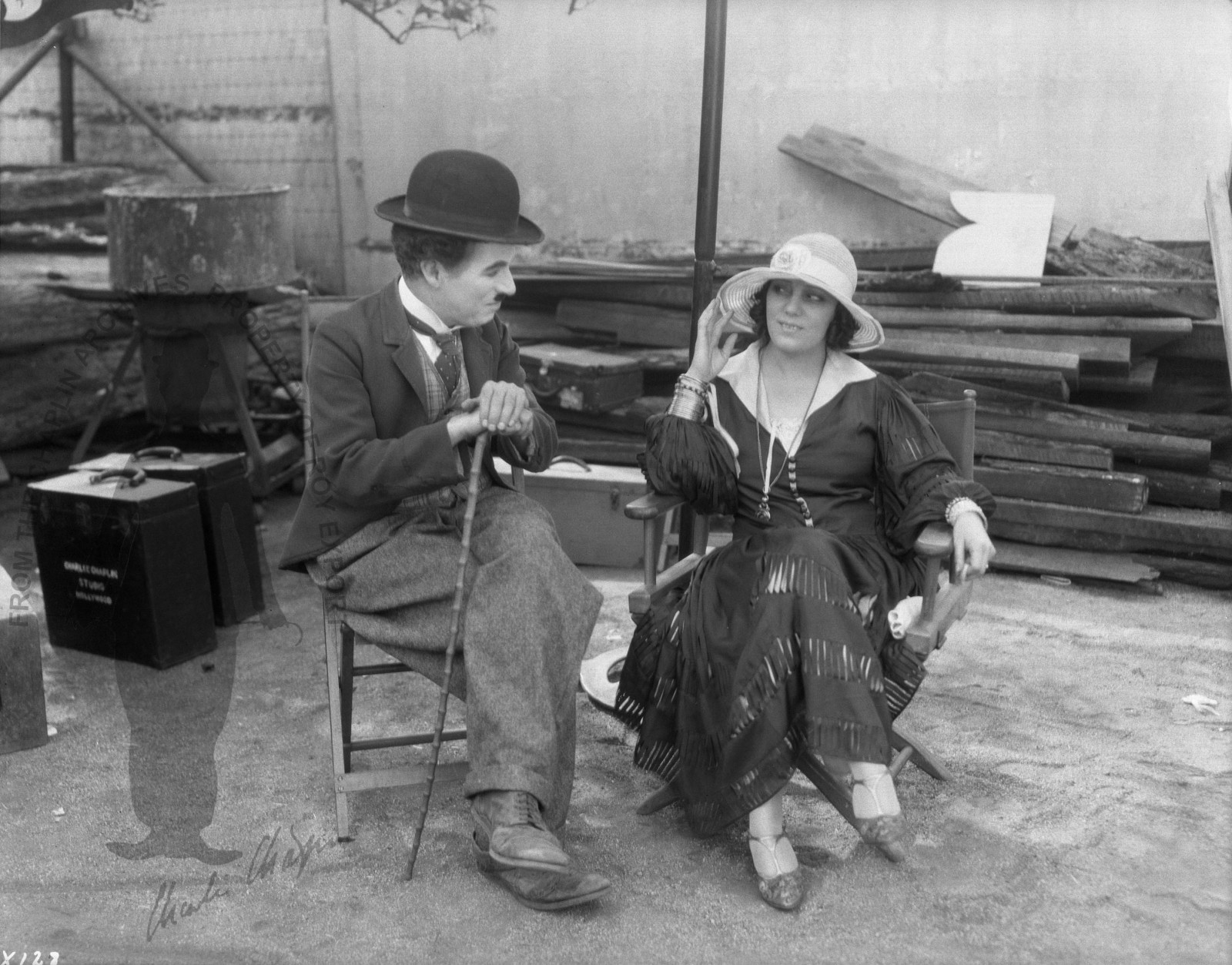 Charlie Chaplin and Raquel Meller on the set of The Circus, 1926
