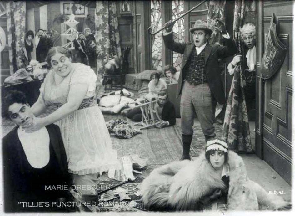 Charlie Chaplin, Marie Dressler and Mabel Normand in Tillie's Punctured Romance (1914)