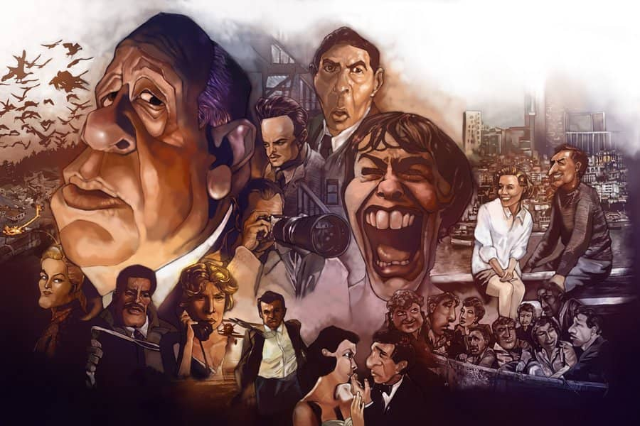 Films of Alfred Hitchcock caricature by Chya Chyi, 2011