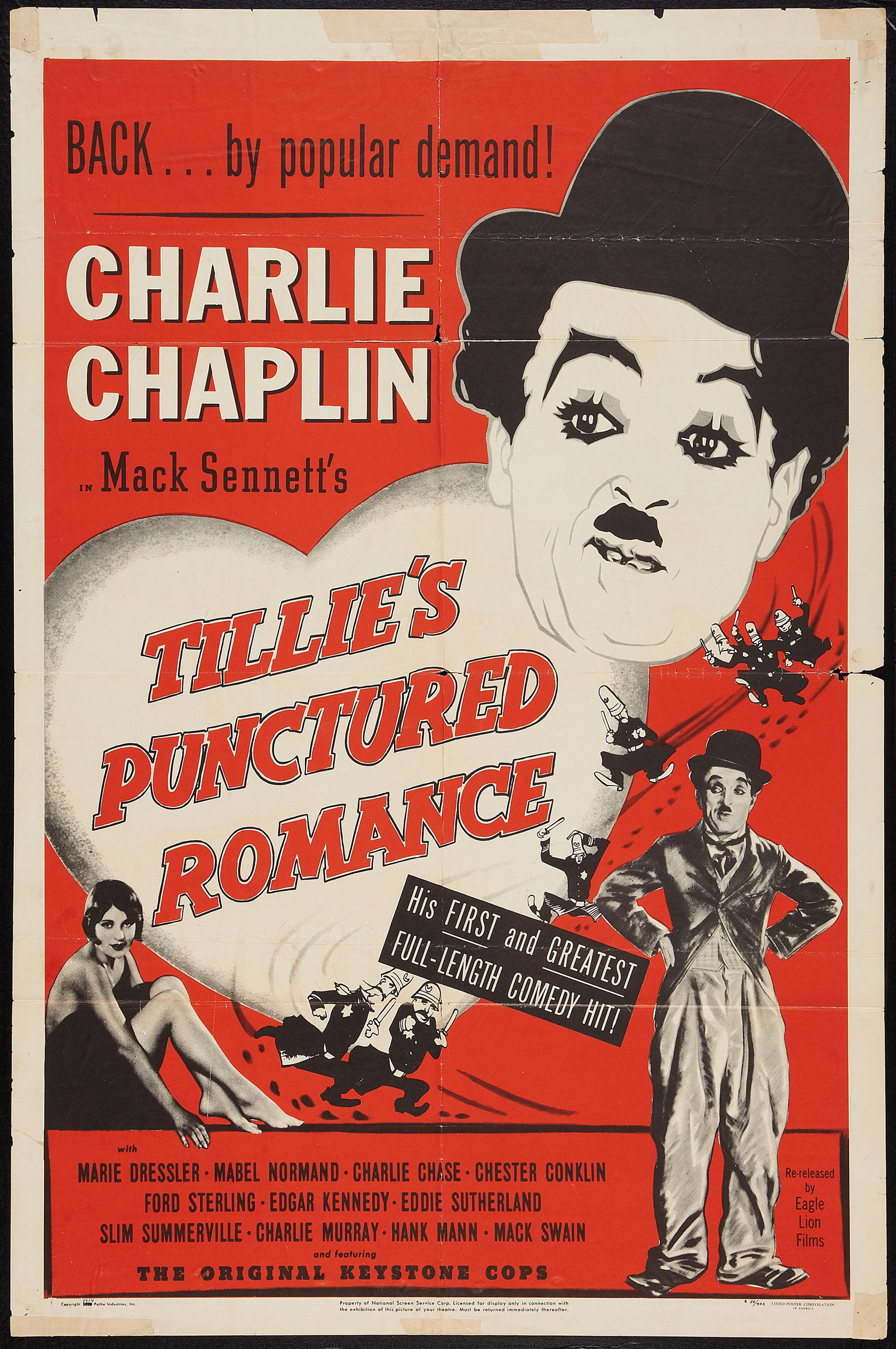Tillie's Punctured Romance (1914, Charlie Chaplin) US 1950 sound reissue poster