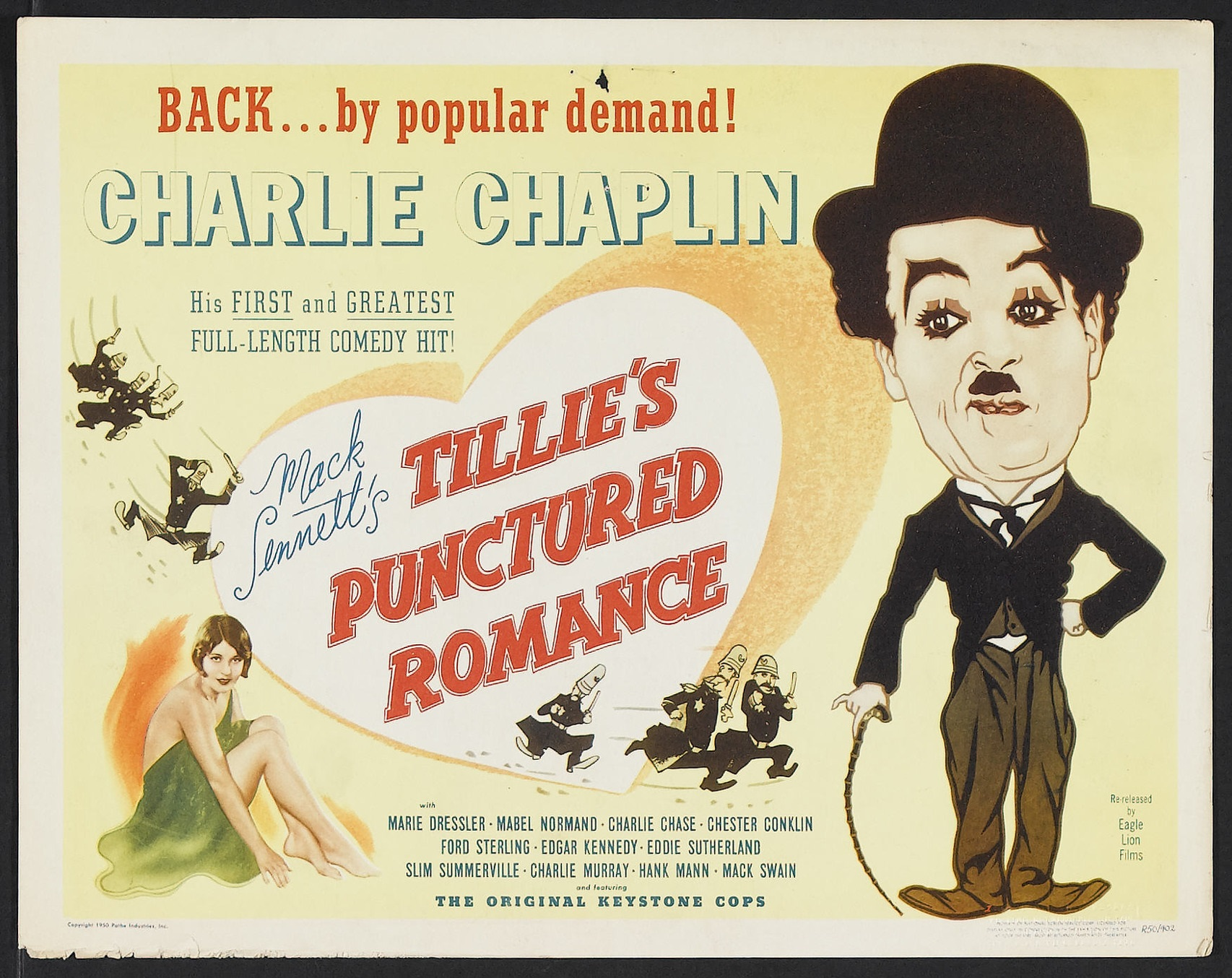 Tillie's Punctured Romance (1914, Charlie Chaplin) US 1950 sound reissue title lobby card