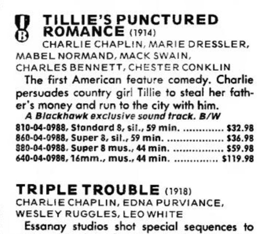 Tillie's Punctured Romance (1914, Charlie Chaplin) US Blackhawk Film Digest catalogue, March 1979