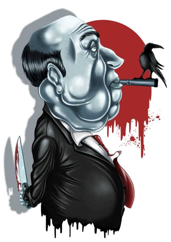 Alfred Hitchcock caricature by Sete González