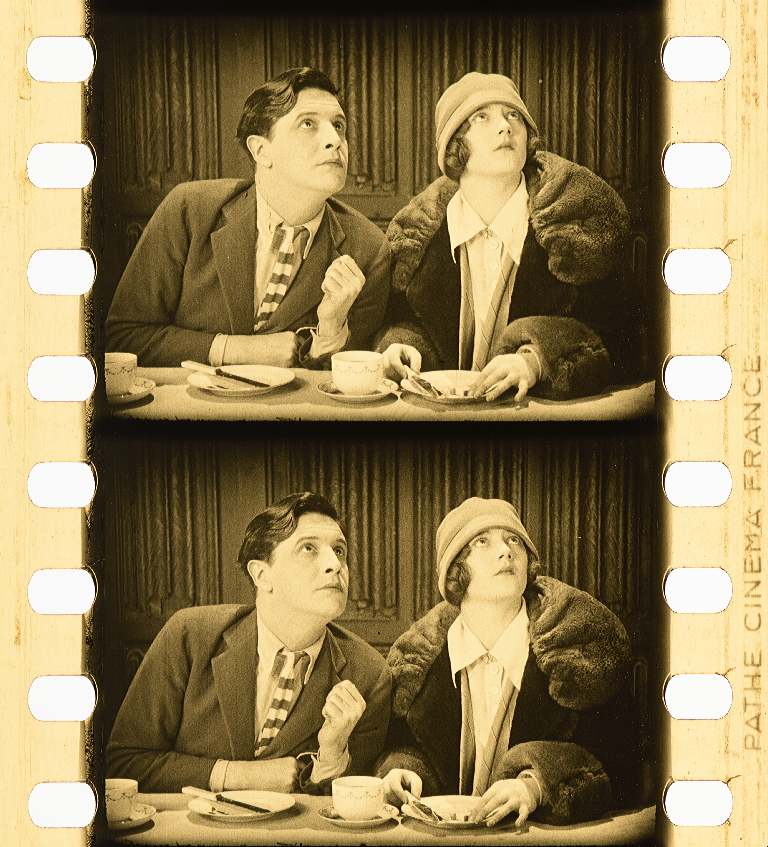 Ivor Novello and Sybil Rhoda in Downhill (1927, dir. Alfred Hitchcock) tinted nitrate print