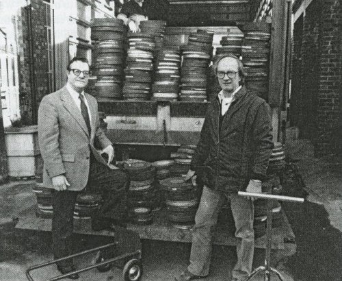 Rohauer (L) and David Gill of Photoplay Productions. Gill and Kevin Brownlow were accessing the Little Tramp's Mutual outtakes for The Unknown Chaplin documentary.