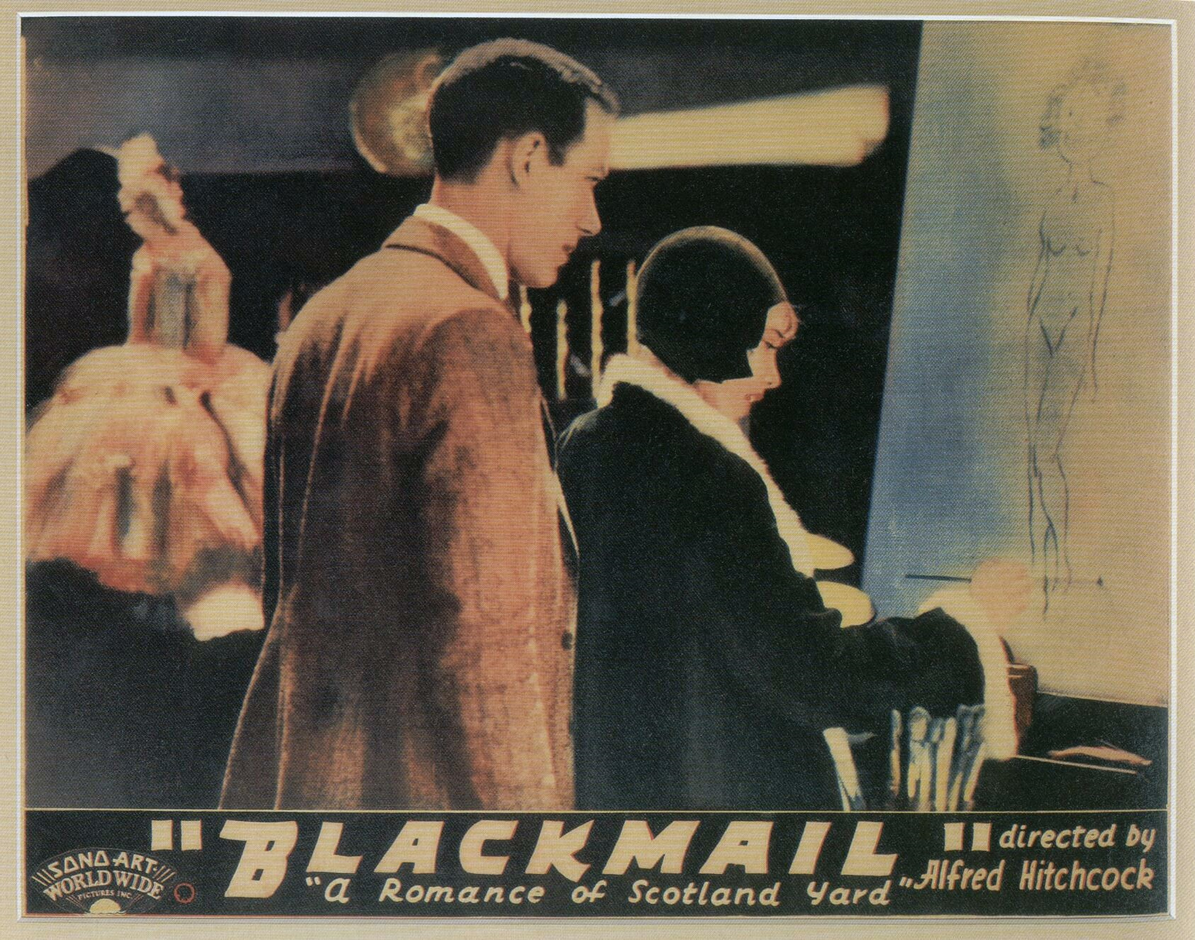 Cyril Ritchard and Anny Ondra in Blackmail (1929, dir. Alfred Hitchcock) US lobby card