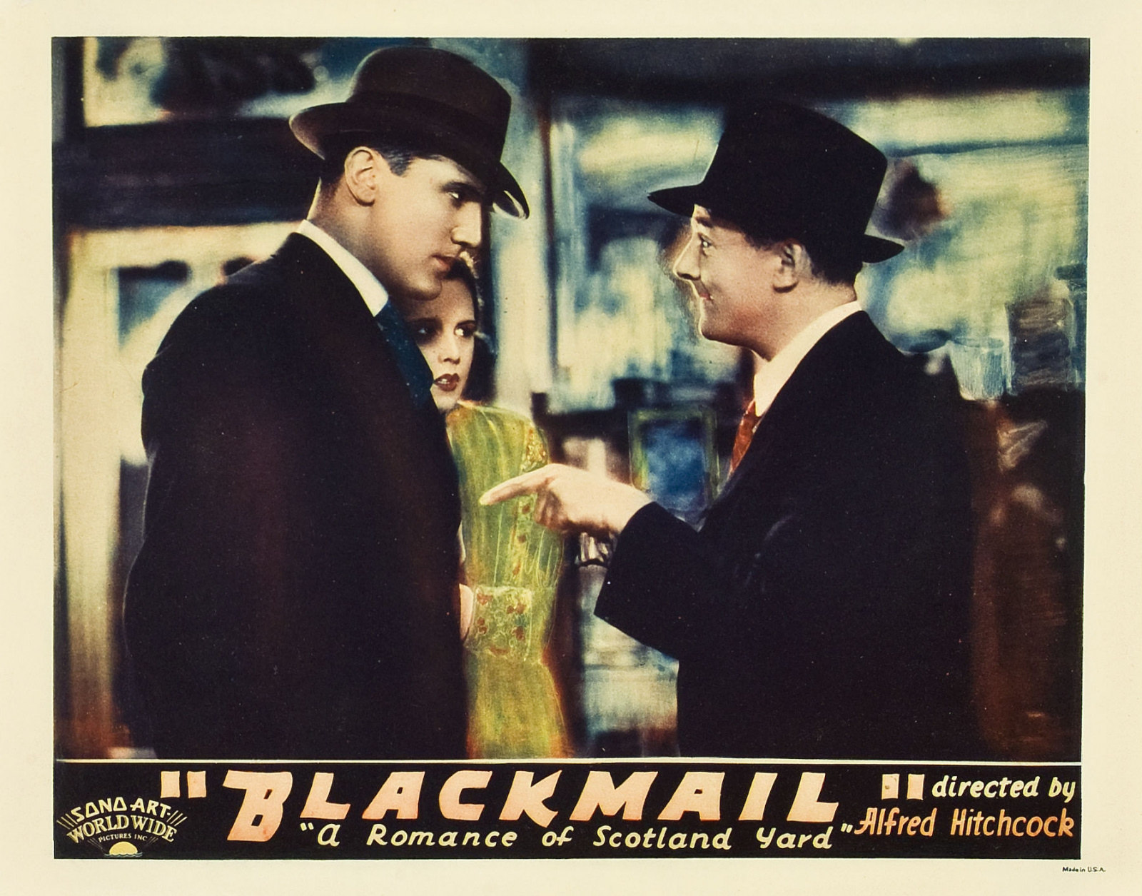 John Longden, Anny Ondra and Donald Calthrop in Blackmail (1929, dir. Alfred Hitchcock) US lobby card