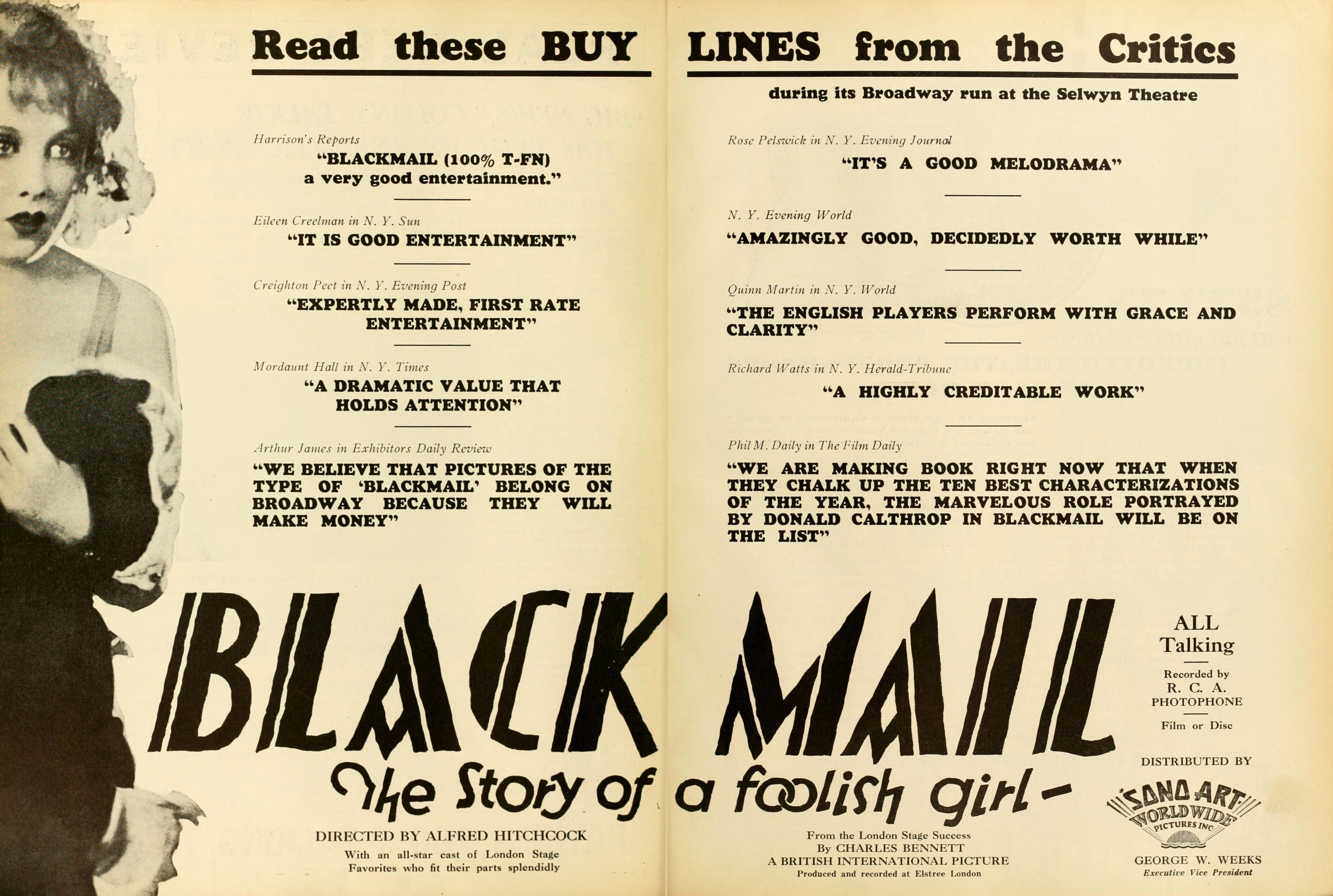US Motion Picture News advert, Oct 19, 1929