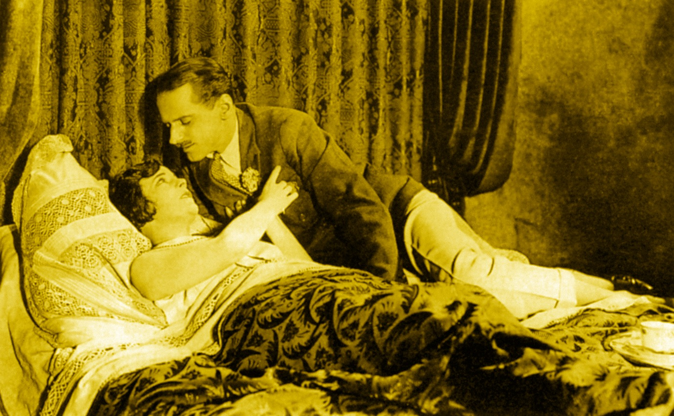 Virginia Valli and Miles Mander in The Pleasure Garden (1925, dir. Alfred Hitchcock)