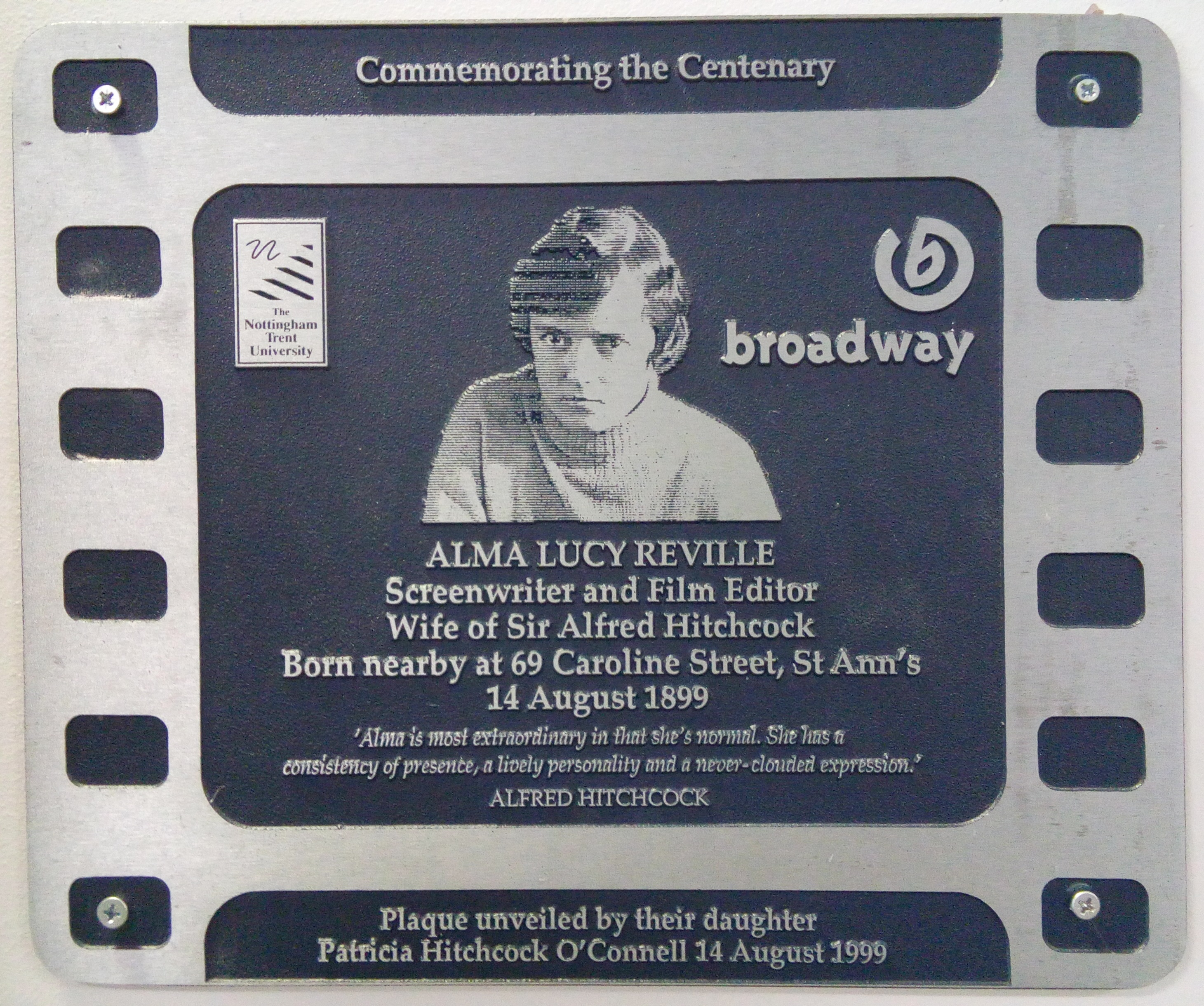 Alma Reville, wife of Alfred Hitchcock, Centenary of Cinema plaque, Nottingham, 1999. Copyright Brent Reid.