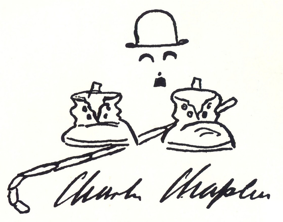 Charlie Chaplin autographed cartoon from My Trip Abroad aka My Wonderful Visit (1922)