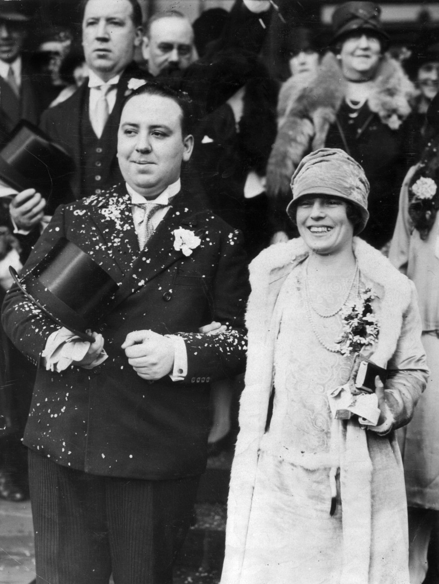 Alfred Hitchcock and Alma Reville on their wedding day, 2 December 1926. Alfred's older brother William is behind him and his mother, Emma Jane, is likely behind Alma