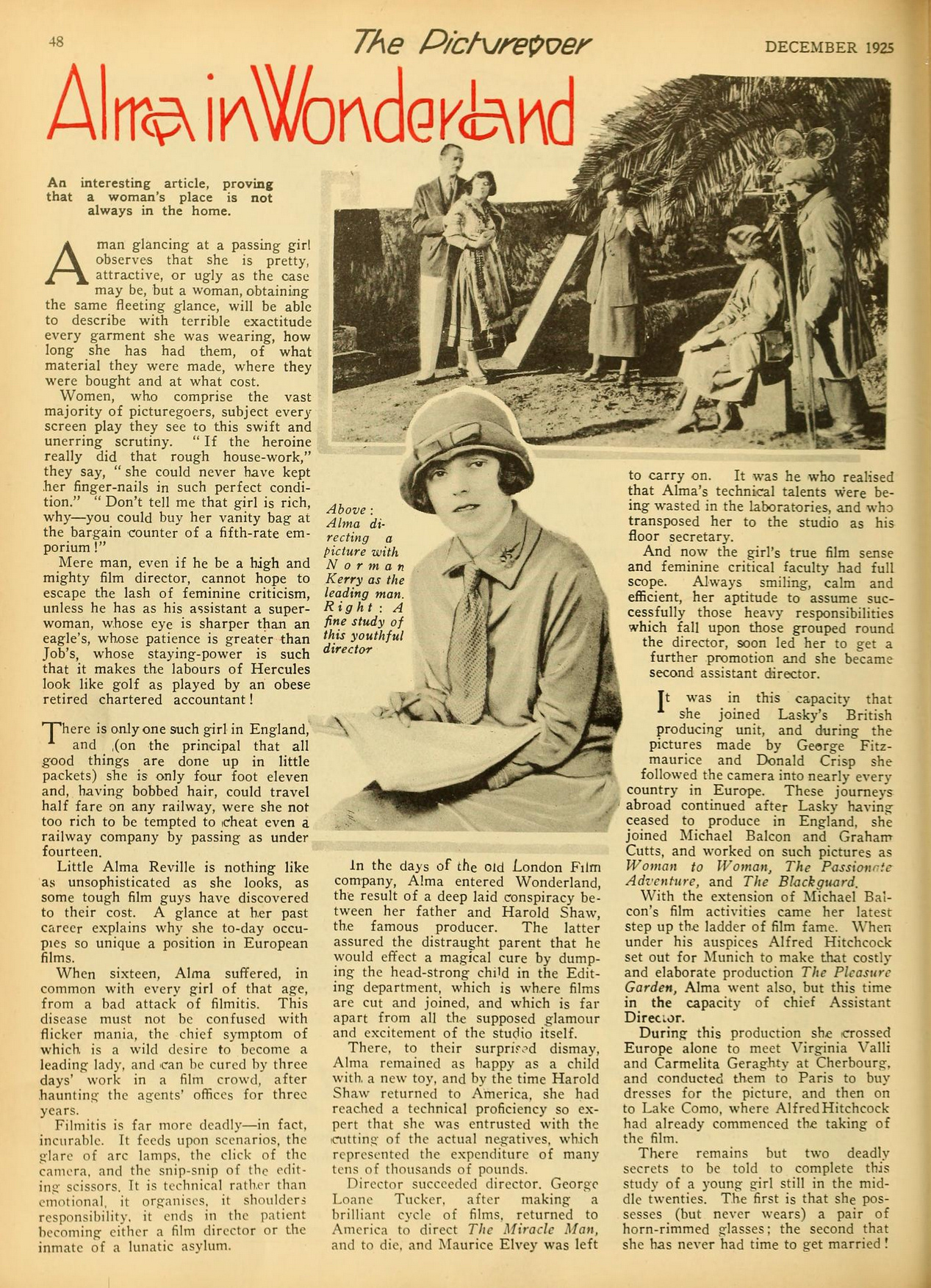"""Alma in Wonderland"" article about Alma Reville, future wife of Alfred Hitchcock, from The Picturegoer magazine, December 1925"