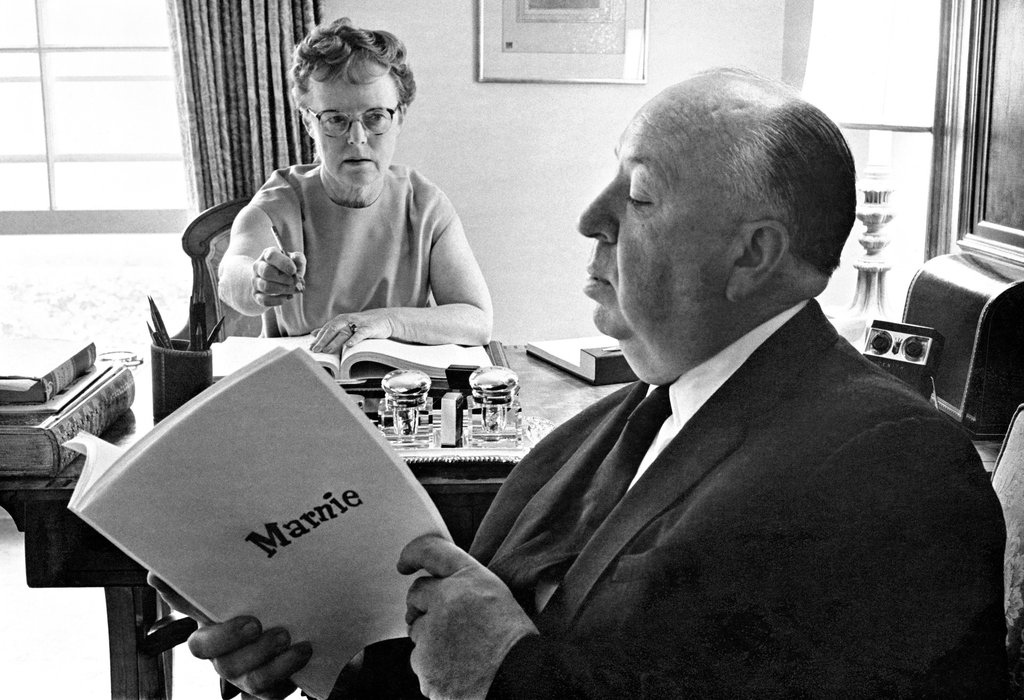 Alma Reville and Alfred Hitchcock working on the script for Marnie (1964)