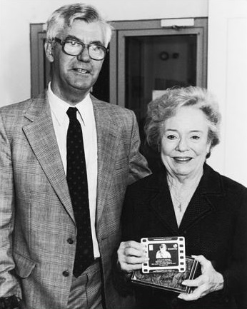 Lawrence Geary and Pat Hitchcock O'Connell at Nottingham unveiling of plaque for Alma Reville, 1999