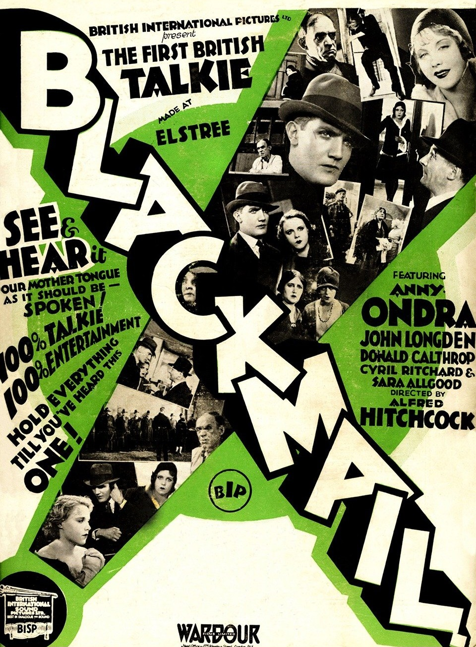 Blackmail (1929, dir. Alfred Hitchcock) UK Kine Weekly trade magazine ad, green