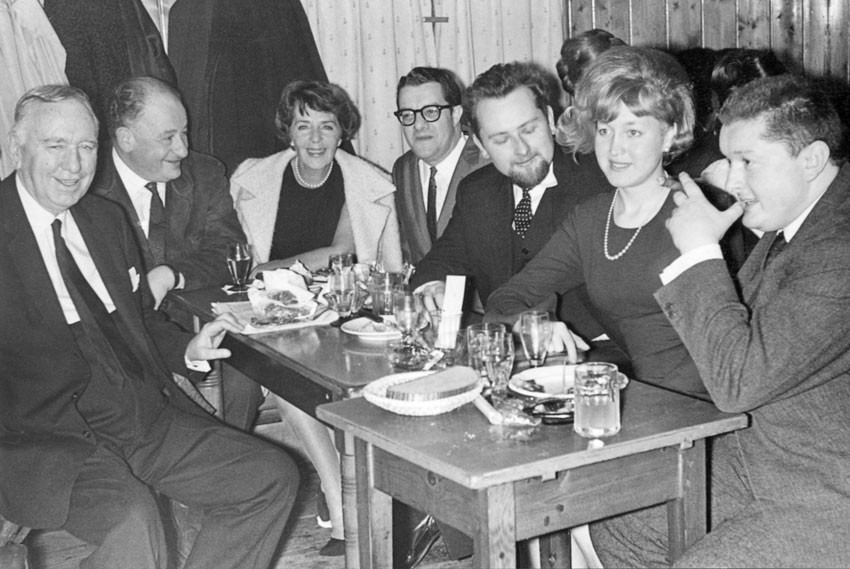 Busby Berkeley, (unknown), Ruby Keeler, Rohauer, Peter Konlechner, Helga Konlechner and Peter Kubelka at the Austrian Film Museum, 12.1965